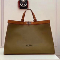 Qualidade grande sacola Mulheres escuro lona verde Saco de mão Médio Bolsa com bolso Interior E Fechamento torção Assinatura