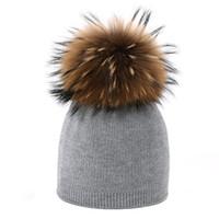 Kasketler Çocuk Örgü Bere Şapka Boyama Gerçek Rakun Kürk Ponpon Saflık Kış Erkek Kız Sıcak Skullies Kemik Marka Çocuklar Bebek Yumuşak Kap