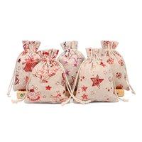 Рождественские мешки Drawstring Хлопок Лен муфту- Сумка Ткань Кошельки Мода шаблон джута мешок Детский конфеты Подарки для хранения сумка Переносной бумажники D9809