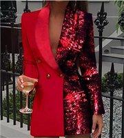 El diseñador de moda para mujer vestidos casuales con cuello en V para mujer con paneles de falda profesional de las lentejuelas de manga larga Cardigan Ropa