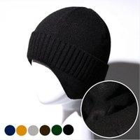 Les hommes Tricoté Calotte hiver chaud Bonnet Cap 6 couleurs Outdoor Ear Protection du vélo Casual Woollen Hat DDA594