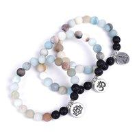 Fosco Amazon Beads Strand Pulseira Pulseira Lava Pedra Frisada Pulseiras Lotus Om Buda Encantos Yoga Strench Mulheres Homens Amizades Jóias