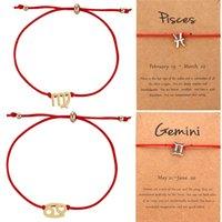 Bracelets de charme 12 constellation mode rouge corde régler la carte de souhaits or argent couleur alliage pour femme fille mignon cadeau d'anniversaire