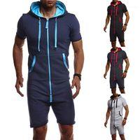 Peça Pajama Streetwear Hoodies Roupa Casual cor sólida Macacão manga curta Homme roupas de grife Mens Macacões Um