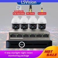 LSVision 3MP HD Sistema Wireless CCTV NVR Kit 4 Way Starlight Night Vision Monitoramento Pacote de Vigilância Video Set Com 4 TB