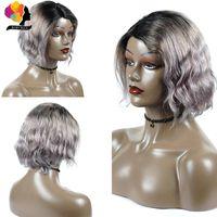 Silver Grey onda profunda curto Bob peruca loira brasileiro Bob Lace Wig Lado Ombre cabelo loiro encaracolado Humano Remyblue Cabelo 150