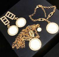 NEW Moda ouro colar brincos pulseira para amantes de casamento Mulheres partido senhora presente da jóia de noivado com caixa lz