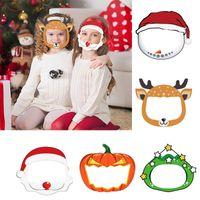 어린이 얼굴 쉴드 크리스마스 엘크 투명 마스크 안티 침 얼룩 지우기 PET 재사용 보호 할로윈 마스크 아이 선물