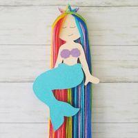 Arco iris de la sirena arcos del pelo del sostenedor de los clips de almacenamiento Cinturón Hairband colgantes Organizador banda de sujeción para 1pcs Niñas Accesorios Niños