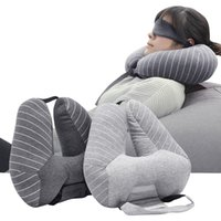 New Fashion U Shape Car Neck Pillows +Eye Mask Plaid Waist Cushion Sleep Pillow Home Office Car For Pillow Airplane Travel Neck