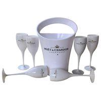6 Coupes + 1 seau seau à glace et vin en verre acrylique 3000ml Gobelets champagne mariage verres Wine Bar Party bouteilles de vin