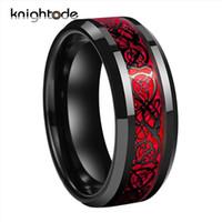 Bande Nere celtica anello del drago del carburo di tungsteno anelli in fibra Red Carbon sposa 8 millimetri uomini di modo gioielli paio anello Comfort Fit