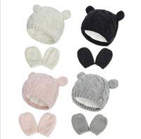 Bambino appena nato inverno Guanti guanti del cappello del Beanie Set per i bambini del bambino del bambino dei bambini Knit Thick caldo pile foderato Set termico per Boy Girl 0-18M