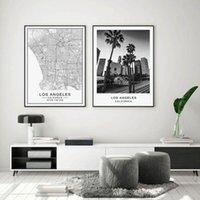 Лос-Анджелес Карта города Современное здание Пейзаж Холст Картина Плакат печати Черный Белый Wall Art Pictures Living Room Home Decor