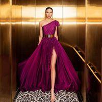 Очаровательное одно плечо фиолетовые выпускные платья сексуальная сторона высокой щель открытой спины длинные формальные вечерние платья дешевые шифоновые женщины платье Vestido de Festa
