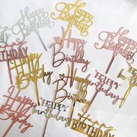 17 estilos de decoración de la torta de la torta Acryllic carta corazón feliz cumpleaños para los primeros de la fiesta de cumpleaños Postre de la magdalena de la decoración
