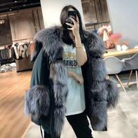 OFTBUY 2020 jaqueta de inverno Brasão das mulheres reais Fur Big Natural Fox Raccoon Fur Collar Parka Branco Duck Down Jacket Streetwear Coréia