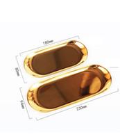 Plateau métal Dessert Plateau Plate plateaux de bijoux en forme de plaque ovale plaque de rafraîchissement en acier inoxydable de petit gâteau Pan plaques de gâteau Outils de cuisine GGA3715-4