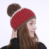Beanie / черепные колпачки Mingjiebihuo осенью и зима рука крупные шерстяные шарные шапки многоцветные вертикальные сшитые вязальные моды девушки