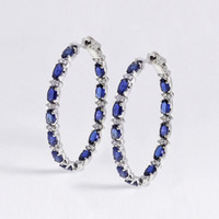 Huitan nuovo modo di arrivo delle donne Orecchino ad anello Dazzling Blue / White zircone cubico eleganti accessori da regalo femminile orecchini gioielli