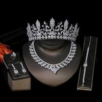 Joyería nupcial conjunto Mujer Zirconia cúbico de 5 piezas de joyería de la boda conjunto de lujo Set. Anillo de la pulsera del collar de novia corona de la tiara