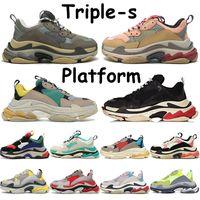 Triple-S أحذية الرجال النساء رمادي الأبيض الأرجواني أسود أحمر وردي بيج الأخضر الأصفر روز الذهب متعدد الألوان رجل منصة عارضة حذاء رياضة
