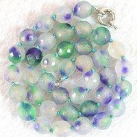 Multicolor violeta jades piedra calcedonia 10 mm bolas facetadas redondos collar de bricolaje para las mujeres de alto grado de joyería de moda B635 18inch