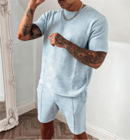 Diz Boyu Şort ile Mavi Tracksuits Yaz İki adet O yaka Kısa Kollu Adam Spor Gevşek kıyafetler Erkek Ekose Işık Setleri