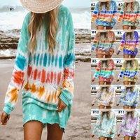Женская одежда Плюс размер платья Галстук окрашенная Блуза Толстовки Платья цвета Gradient с длинными рукавами длиной до колен юбка Повседневный пуловер Футболка D9801