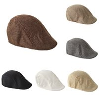 NEW Men's spring and autumn British retro linen duck tongue Beret solid color forward hat casual fashionable hat T500248
