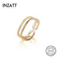 INZAReal 925 Sterlingsilber Zircon-Platz Adjustable Ring für Frauen-Partei Fine Jewelry Minimalist Accessoires Klassisches Geschenk