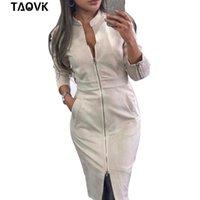 Collar del soporte TAOVK calle vestido de ante las mujeres de manga larga vestido de la vendimia ajustado de cremalleras oficina de la señora vestidos