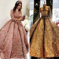 Robe de bal Femme Soirée soirée Robes de bal 2021 caftan rose scintillante musulmane manches d'or long bal arabe Taille Plus Robes