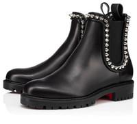 Famoso inverno mulheres vermelhas botas capohutta tornozelo botas de couro preto sola marca de alta qualidade marca vermelha sola booties casamento casamento
