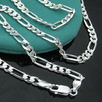 4mm 16-30 inç Uzun Zincir Kolye 925 Ayar Gümüş Figaro Kolye Erkekler Için Takı Yılan Zincir Bağlantı Kadınlar Için
