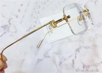 تصميم الأزياء الجديدة النظارات البصرية الرجعية 0171 K الذهب بدون إطار مربع أسلوب عمل حديث للجنسين يمكن أن تجعل النظارات الطبية