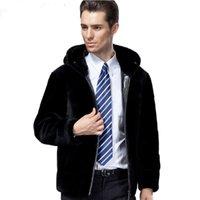 Cuir pour homme Faux véritable manteau de fourrure de mouton mouton de mouton de laine naturelle de la laine d'hiver de la laine d'hiver de la laine d'hiver d'hommes à capuche S14D315 KJ863
