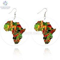 Люстра свисания Somesoor Печатная Объединенная Африка Страны Флаги Деревянные Серьги Падение Афро Черный Рок Хипхоп Древесина для Женщин Рождественский Подарок