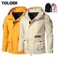 Мужские куртки с капюшоном бомбардировщик куртка мужчины Mulit-Pocket Caport Cargo Designer STEETWORE Осенний хип-хоп Windbreaker Coats Korean Fashion 5XL