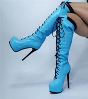 Stivali Dipsloot donna moda blu nero patchwork tondo toe piattaforma pizzo up anteriore stilotto tacchi ginocchio alto alto più dimensioni