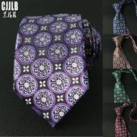 Purple Necktie Brand Cravate 2020 New Floral Purple Neck Ties For Mens Slim Wedding Tie 7cm Width Mens Gravata Party Neckties