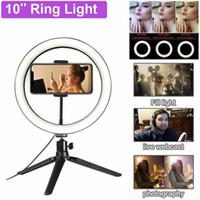"""10"""" Akıllı Telefon Makyaj Video Studio için tripod ile LED Halka Işık Fotografik Selfie'nin Halka Aydınlatma halka ışık selfie'si tripod led"""