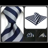 Bow Ties G09 Gray Blue Striped Mens Neckties Set Silk Classic Fashion For Men Gift Hanky Extra Long Size
