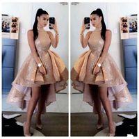 Bling Bling de las lentejuelas de oro rosa de cuello alto vestidos de baile 2021 corto delantero atractivo trasero largo sin mangas formal del partido vestidos de noche vestido de gala
