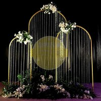 New wedding arches props n-shaped metal wrought iron rainbow road lead artificial flower stand wedding backdrop decor ornaments