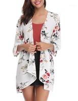 Vestuário Womens Neck Floral Impresso mulheres Rash guardas Moda solto Cardigan Swimwear para mulheres V