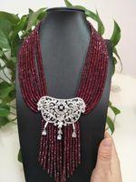 Chaînes Vendre Naturel 9 lignes 2x4mm rouge de pierre rouge micro inlay zircon pendentif pendentif gland joaillerie de mode