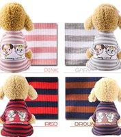 스트라이프 개 의류 탄성을 바닥으로 셔츠 애완 동물 개 스트라이프 의류 목화 따뜻한 겨울 T 셔츠 고양이 강아지 Cosstume 의류