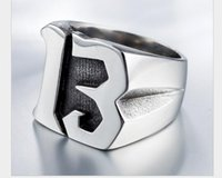 Free Shipping ! Punk Mens Boy 316L Stainless Steel Cool Silver Luck Number Silver 13 Biker Ring Jewelry ps1714