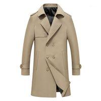 Larga delgada Coats Casual Male solo pecho para hombre Outwear la solapa del cuello capas de foso del invierno del otoño de color sólido